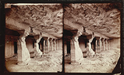 View from the left of the façade of Buddhist vihara, Cave XIV, Ajanta